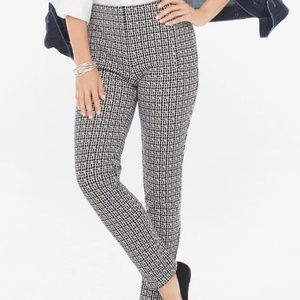 NWT Chicos JULIET CHECK-PRINT ANKLE PANTS 2R